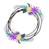 Uppsättning av den blom- buketten som isoleras på vit bakgrund Vektor Illustrationer