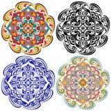 Uppsättning av den blom- tatueringen Mandala i tappning, blått, orientalisk färg vektor illustrationer