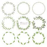 Uppsättning av den botaniska runda ramen, utdragna blommor för hand, botanisk sammansättning, dekorativ beståndsdel för inbjudank stock illustrationer