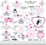 Uppsättning av den calligraphic designbeståndsdelar och sidadekoren Royaltyfri Bild