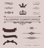 Uppsättning av den Calligraphic designbeståndsdelar och sidan Royaltyfria Bilder