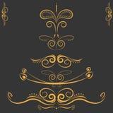 Uppsättning av den dekorativa beståndsdel-, gräns- och sidaregelramen royaltyfri illustrationer