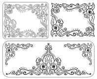 Uppsättning av den dekorativa monokromma tappningramen med rosor Fotografering för Bildbyråer