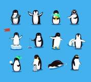 Uppsättning av den djura Pinguin designlägenheten stock illustrationer