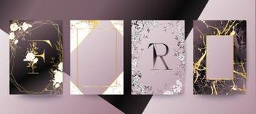 Uppsättning av den eleganta broschyren, kort, bakgrund, räkning som gifta sig inbjudan Lila och guld- marmortextur royaltyfri illustrationer