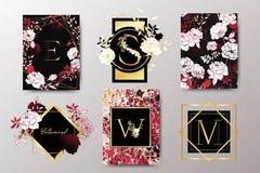 Uppsättning av den eleganta broschyren, kort, bakgrund, räkning som gifta sig inbjudan Svart, röd och guld- marmortextur royaltyfri illustrationer