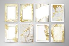 Uppsättning av den eleganta broschyren, kort, bakgrund, räkning Svart och guld- marmortextur Gömma i handflatan exotiska sidor royaltyfri illustrationer