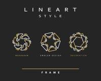 Uppsättning av den eleganta linjen konstdesign Monogramdesignbeståndsdel Royaltyfria Bilder