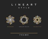 Uppsättning av den eleganta linjen konstdesign Monogramdesignbeståndsdel Royaltyfri Bild