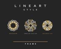 Uppsättning av den eleganta linjen konstdesign Monogramdesignbeståndsdel Arkivbilder