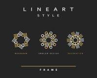 Uppsättning av den eleganta linjen konstdesign Monogramdesignbeståndsdel Royaltyfri Fotografi