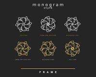 Uppsättning av den eleganta monogrammet dekorativ vektor för illustration för designemblemdiagram Royaltyfria Foton