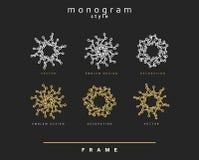Uppsättning av den eleganta monogrammet dekorativ vektor för illustration för designemblemdiagram Royaltyfri Bild