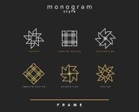 Uppsättning av den eleganta monogrammet dekorativ vektor för illustration för designemblemdiagram Arkivfoto