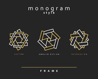 Uppsättning av den eleganta monogrammet dekorativ vektor för illustration för designemblemdiagram Arkivfoton
