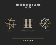 Uppsättning av den eleganta monogrammet dekorativ vektor för illustration för designemblemdiagram Royaltyfri Foto