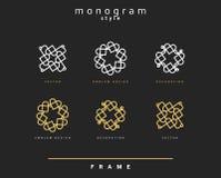 Uppsättning av den eleganta monogrammet dekorativ vektor för illustration för designemblemdiagram Royaltyfri Fotografi