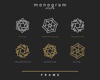 Uppsättning av den eleganta monogrammet dekorativ vektor för illustration för designemblemdiagram Arkivbilder