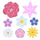 Uppsättning av den enkla blommafärgkonturn Stock Illustrationer