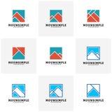 Uppsättning av den enkla designen för mall för berglogovektor, montering i asken, En-initial logo vektor illustrationer