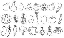Uppsättning av den enkla teckningsfrukter och grönsaken Arkivfoto