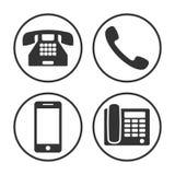 Uppsättning av den enkla telefonsymbolen Arkivbild