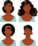 Uppsättning av den etniska härliga kvinnan för afrikansk amerikan stock illustrationer
