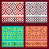 Uppsättning av den etniska prydnadmodellen i olika färger också vektor för coreldrawillustration Royaltyfri Bild