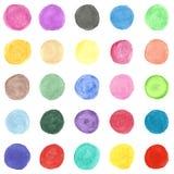 Uppsättning av den färgrik målade cirkeln för vattenfärg hand. Fotografering för Bildbyråer