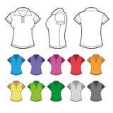 Uppsättning av den färgrika kvinnlign Polo Shirts vektor vektor illustrationer