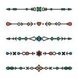 Uppsättning av den färgrika linjen geometrisk isolerad avdelarvektor royaltyfri illustrationer