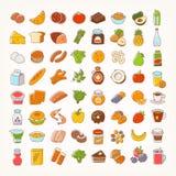 Uppsättning av den färgrika linjen slaglängdsymboler av mat stock illustrationer