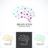 Uppsättning av den färgrika vektormallhjärnan Idérik symbol för begreppsdesign Arkivbild