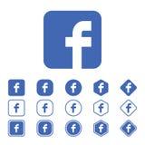 Uppsättning av den Facebook lägenhetsymbolen på en vit bakgrund Royaltyfria Bilder