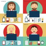 Uppsättning av den frilans- karriären stock illustrationer