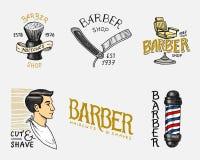 Uppsättning av den frisersalongemblemet och etiketten, logo- och hipsteremblem Hjälpmedel för mansymbol Frisyr av skägget och mus royaltyfri illustrationer