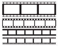 Uppsättning av den gamla retro ramen för vntagefilmremsa, vektorillustration Panelljus med blåa strålar Filmband Lägenhet som iso arkivbilder