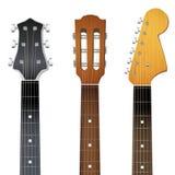 Uppsättning av den gitarrhalsfretboarden och headstocken Arkivfoto