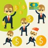 Uppsättning av den gladlynta affärsmannen med hans pengar stock illustrationer