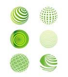 Uppsättning av den gröna jordklotvektorillustrationen Arkivfoto