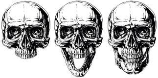 Uppsättning av den grafiska svartvita mänskliga skalletatueringen Royaltyfri Foto