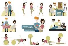Uppsättning av den gravida familjen vektor illustration stock illustrationer