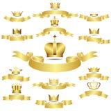 Uppsättning av den guld- kronan för vektor med kurvbanret Arkivbild
