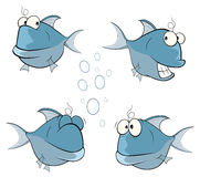 Uppsättning av den gulliga djup-vatten för tecknad film fisken stock illustrationer