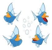 Uppsättning av den gulliga djup-vatten för tecknad film fisken royaltyfri illustrationer