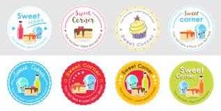 Uppsättning av den gulliga söta den bageriemblemetiketten och logoen för klistermärke stock illustrationer