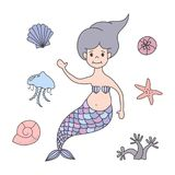 Uppsättning av den gulliga sjöjungfru- och flottanaturen stock illustrationer