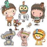 Uppsättning av den gulliga stam- flickan och pojke och djur stock illustrationer