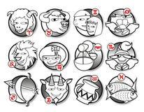 Uppsättning av den gulliga symboliska symbolen för zodiak Royaltyfri Foto