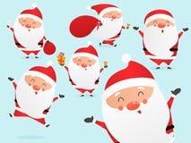 Uppsättning av den gulliga tecknade filmen Santa Clauses vektor illustrationer